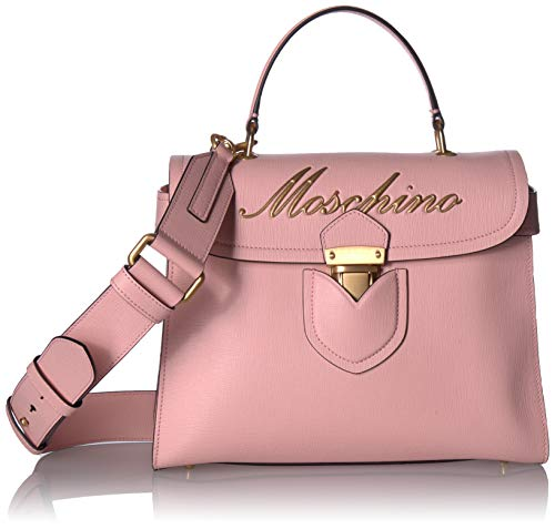 Moschino Womens Embroidered Logo Top-Handle Box Satchel Rose Saffiano One Size