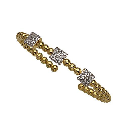 Bangle Bracelet, Fancy Bead Cuff Br W/3 Sqr Cz Stations by DiamondJewelryNY