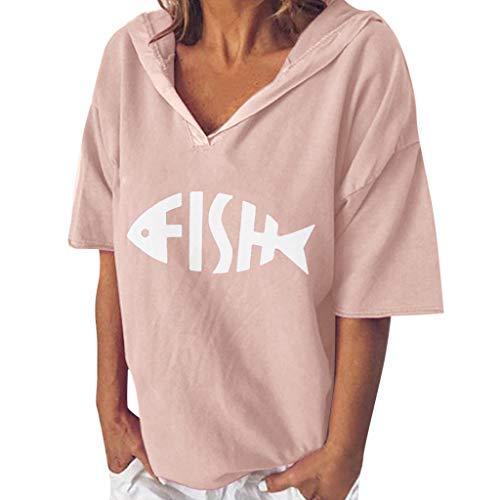 〓COOlCCI〓Women Tees & Blouses, Summer Tops for Women Short Sleeve V Neck Fish Bones Print Casual Loose Tunic Top Pink]()
