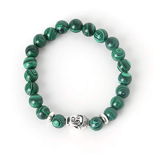 19 Colors Elastic Rope Chain Natural Stone Plus Antique Silver Buddha Head Bracelets Bangles for Fashion Women and Men Jewelry - (Metal Malachite)