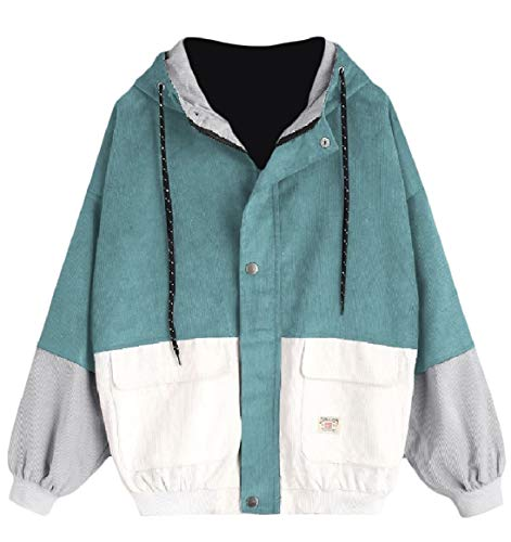 RkBaoye Blue Outwear Baseball Lake Hit Hooded Coat Womens Oversized Patched Color Zip Velvet 7ZOrWfq7