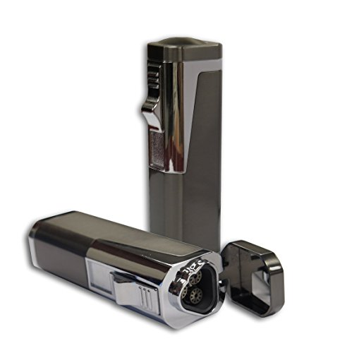 Prestige Import Group Typhoon Triple Flame Torch Lighter with Punch Cutter (Gun Metal) (Torch Lighter Punch)