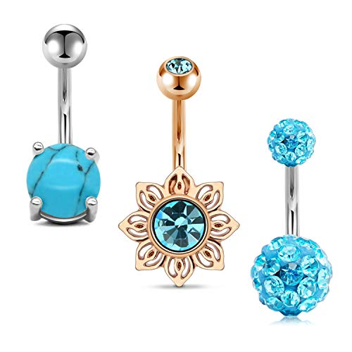 - JFORYOU 3Pcs Belly Button Rings Stainless Steel 14G Sun Shaped with CZ Blue Turquoise Paved Crystal Ball Navel Rings Barbells Piercing Women Girls Body Piercing