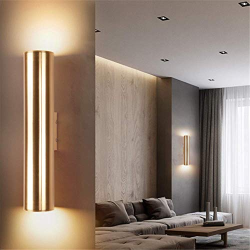 Wall Light Up and Down Spotlight Retro Champagne Gold Metal Aluminum Polished Brass Wall Lamp,LED Eye Care 3W, Warm Light,for House Living Room Bedroom Restaurants Coffee Shop