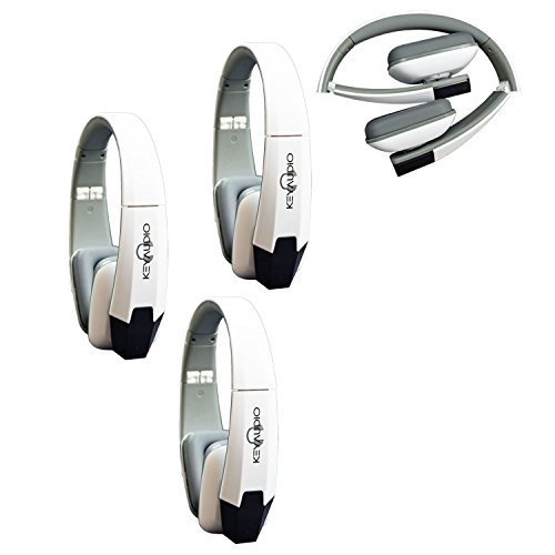 Key Audio 3 White Two Channel Folding Adjustable Universal Rear Entertainment System Infrared Headphone Car TV Video Audio and Listening With Superior Sound Quality