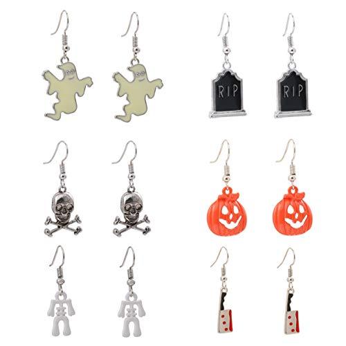 Halloween Drop Earrings Set Ghost Pumpkin Lantern Bloody Knifes Skeleton Skull Rip Dangle Jewelry for Women 6 Pairs