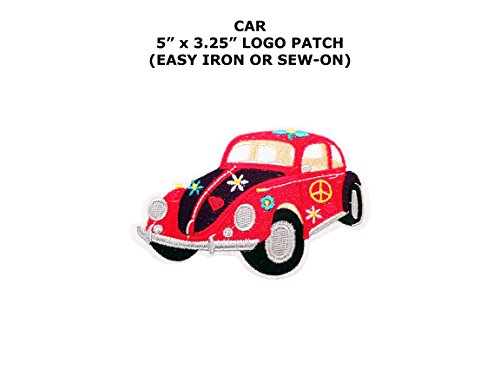 [Volkswagen Beetle Hippie Embroidered Iron/Sew-on Comics Cartoon Theme Logo Patch/Applique] (Easy Male Villain Costumes)