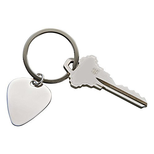 Guitar Pick Stainless Steel Silver Finish Non-Tarnish Keychain by Creative Gifts ()