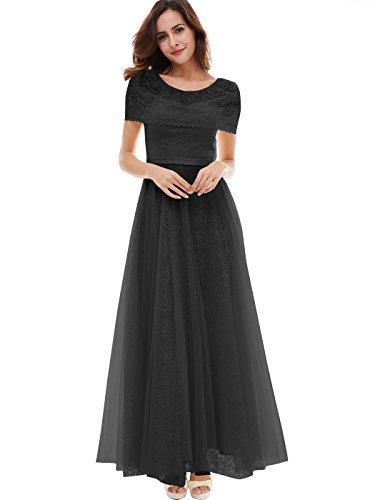black bridesmaid dress with short sleeves - 6