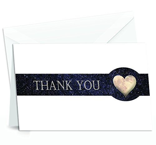 (Thank You Cards with Envelopes - 4x7 Inches of 50 Amazing White Note Cards with Blank Greeting Space - Perfect for Business, Anniversary, Graduation, Weddings - Night Stellar and Heart-Shaped Moon)