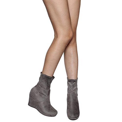 Platform Ankle Wedge Booties Vegan BESTON Top Wrapped Grey Women's Pull On EI68 High CnXwFqU