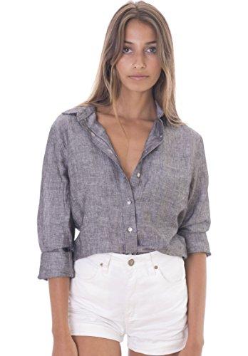 Fine Italian Linen - CAMIXA Women's 100% Linen Casual Shirt Slim Fit Button-Down Airy Basic Blouse L Black Melange