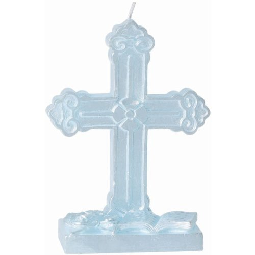 Amscan Party Supplies Holy Communion/Christening Cake Decoration Cross Candle (6 Piece), (Blue Cross Candle)