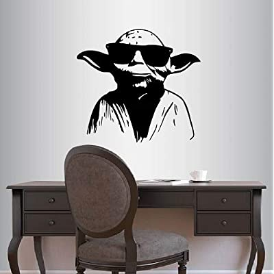 Wall Vinyl Decal Home Decor Art Sticker Master Yoda in Sunglasses Star Wars Kids Bedroom Living Room Removable Stylish Mural Unique Design: Home Improvement