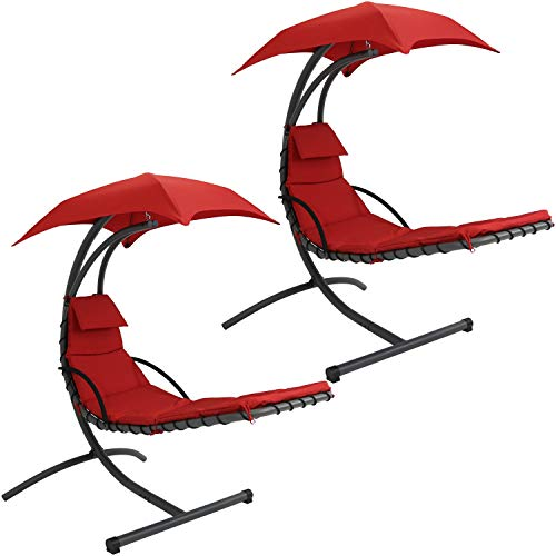 Sunnydaze Floating Chaise Lounger Swing Chair with Canopy, 79 Inch Long, Red, 260 Pound Capacity, Set of 2 For Sale