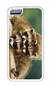 covers Baby Raccoons TPU White Case for iphone 5C