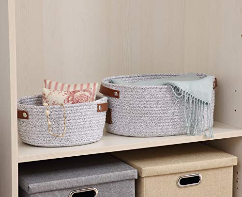 DECOMOMO Round Foldable Storage Bin Set of 2 Woven Cotton Rope Baskets with Handles | Great for Nursery/Toys/Stationary/Keys … (Light Grey)