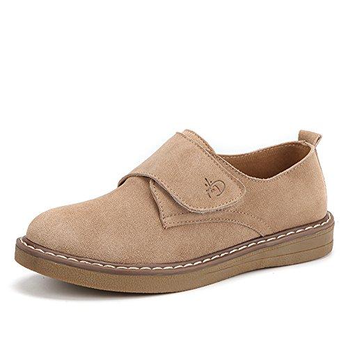 Stq Dames Suede Slip Op Velcro Oxfords Jurk Schoenen Platform Haak En Lus Comfort Sneakers Abrikoos
