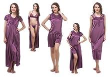 9215575c830c Satin Nightwear 6 Pcs Set of Nighty Wrap Gown Top Shorts Bra   Thong DP044 (