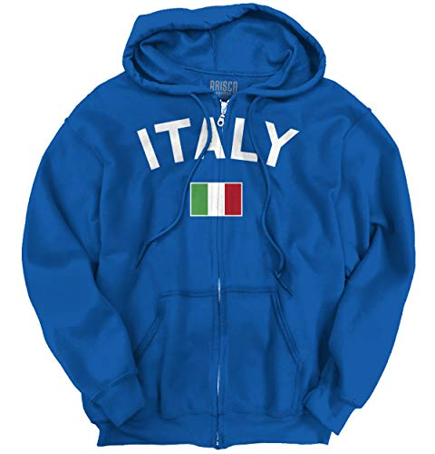 (Brisco Brands Italy Country Flag Soccer Fan Italian Pride Zip Hoodie)