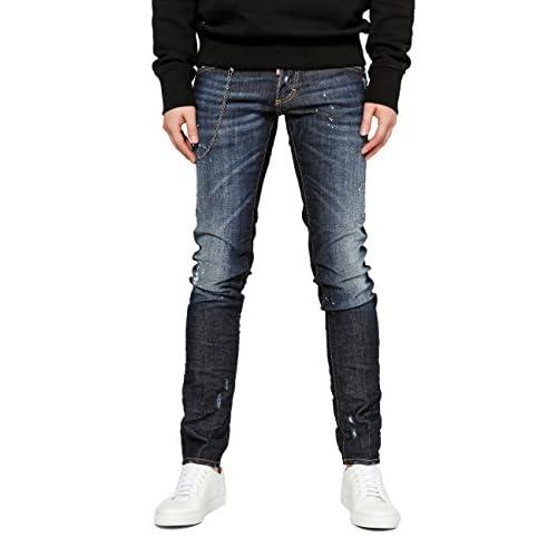2d3750d507a Wiberlux DSquared2 Men s Chain Link Accent Paint Splattered Distressed Slim  Fit Jeans new