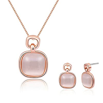 Cheap Womens Jewelry Set Gold Plated Necklace and Earrings Set Pink Cushion Stone Wedding Gift Adisaer