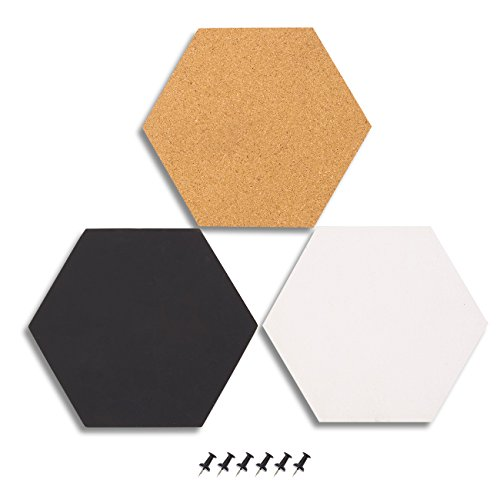 (Juvale 3-Pack Cork Bulletin Boards - Hexagonal Decorative Tiles in 3 Includes 6 Push Pins - Perfect Pinning Reminders in Your Kitchen, Office Classroom, 7.8 x 7.8 x 0.2 inches )