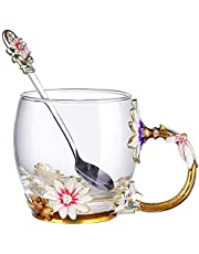 Enamel Glass Mug Flower Crystal Clear Novelty Glass Tea Cup Coffee Cups Travel Mugs Elaborate Flower Handle and Beautiful Spoon for Women Birthday Valentines Wedding Day Gifts