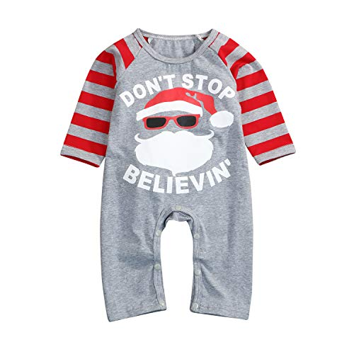 Unisex Baby Christmas Romper Don't Stop Believing Letters Print Santa Claus Pattern Red Striped One Piece Xmas Bodysuit (12-18 Months, Gray) for $<!--$13.99-->