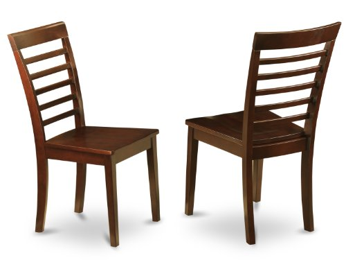 East West Furniture MLC-MAH-W Chair Set with Wood Seat, Mahogany Finish, Set of 2 For Sale