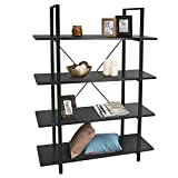 4-Tier Industrial Bookshelf Vintage Wood and Metal Bookcases Review