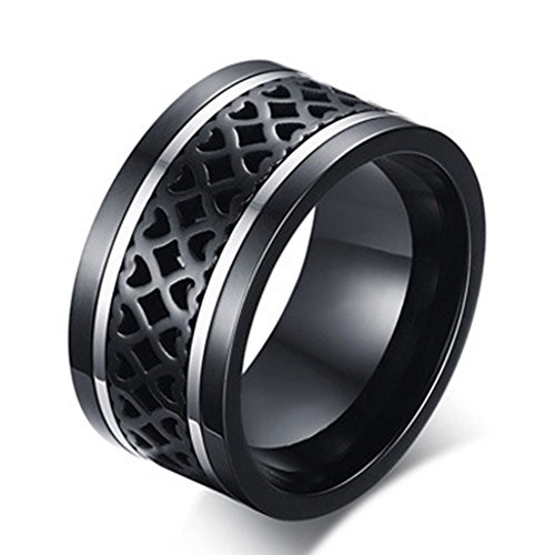 SAINTHERO Men's Wedding Bands Vintage Wide 12MM Black-Silver Titanium Steel Hearts Spinner Forever Love Promise Rings for Him High Polish Comfort Fit Size 10 -