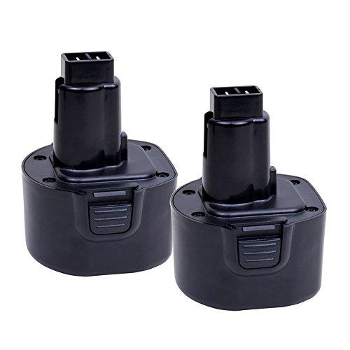 2.0Ah DW9062 Replacement Battery for Dewalt DW9061 DW9036 DE9062 DW9614 DW902 DW911 DW921 DW926 DW926k2 DW955 DW967k;Black & Decker PS120 Fire Storm(9.6V, Ni-CD, 2 Pack) by VANON