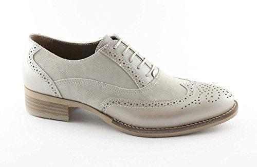 Grigio NEGRO perlas JARDINES 15052 con cuero zapatos abarcas de de Inglés punta mujer 7w7qArBgx
