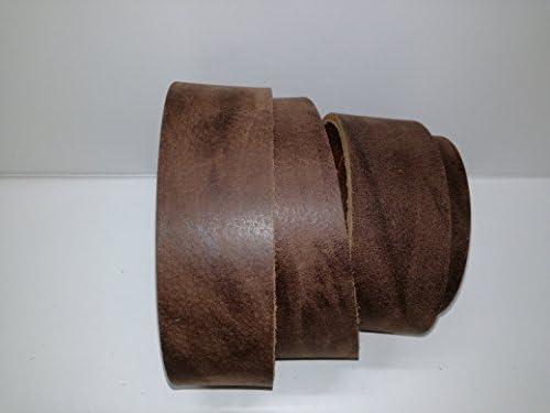 Wasserbüffel Lederriemen 'Buffalo' Büffelleder marron-antik gefärbt Oberfläche geflammte Optik, Lederstärke ca. 3,6mm, Länge ca. 130 cm (130 x 2,5 cm)