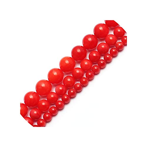 entertainment-moment Natural Freshwater Shell Beads Dyed Red Shell Beads Making 15Inches 4/6/8Mm Round Beads Making Bracelet,4Mm 95Pcs Beads