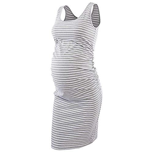58ab1e60cdfa2 SamMoSon Women Pregnant Shirt,Women's Stripe Maternity Sleeveless Dresses  Maternity Tank Dress Baby Pregnancy Dress