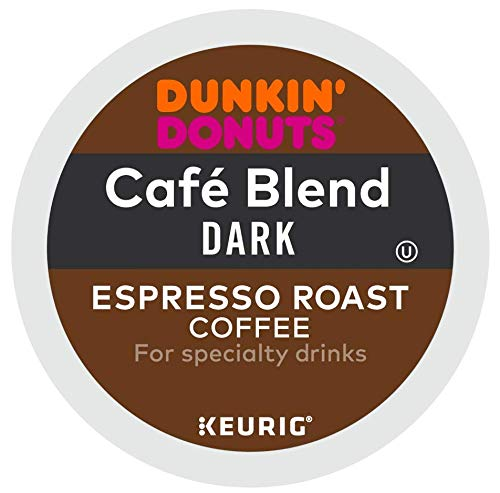 Dunkin' Donuts Cafe Blend Dark Espresso Roast Coffee single serve capsules for Keurig K-Cup pod brewers (96 Count)