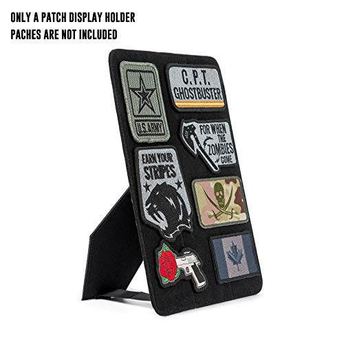 (OneTigris Mini Patch Board Stand Vertical & Horizontal Hard Patch Display Holder (Black - No)