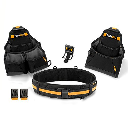 ToughBuilt - Contractor Tool Belt Set - Includes 3 Pouches, Padded Belt, Heavy Duty, Deluxe Premium Quality, Durable - 36 Pockets, Hammer Loop, 3 Patented ClipTech Hubs (Contractors Leather Tool Belt)