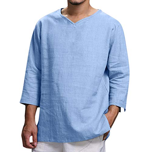 - Men Linen Shirt,2019 New Plus Size Summer Loose 3/4 Sleeve Hippie Casual Fashion Pullover Yoga Tops Blouse (Asian Size:XXXL, Blue)
