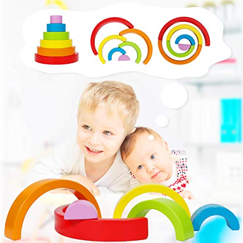Dreampark Wooden Rainbow Stacking Game Stacker Nesting Puzzle Blocks, Color Shape Matching Educational Learning Toys for Kids Baby Toddlers 1 2 3 4 5 Years Old and Up (6 PCS)