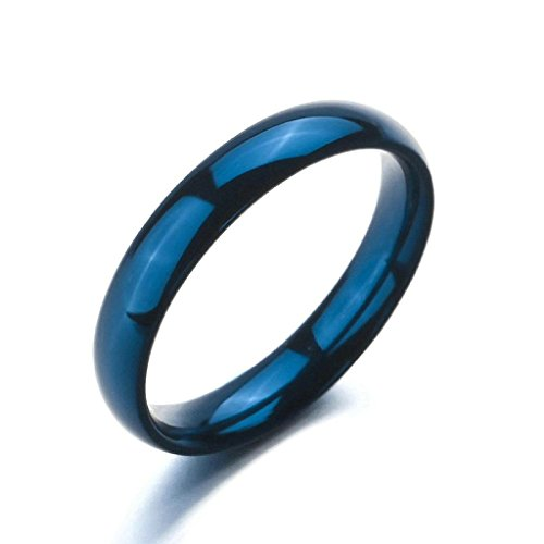 Aooaz Stainless Steel Rings For Women Men Simple Design Blue Punk Band Size 5 Engagement Free Engraving