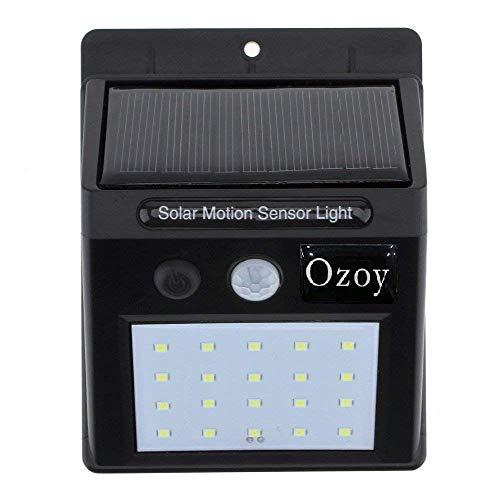 OZOY 20 LEDs Solar Wireless Security Motion Sensor Night Light (Black)