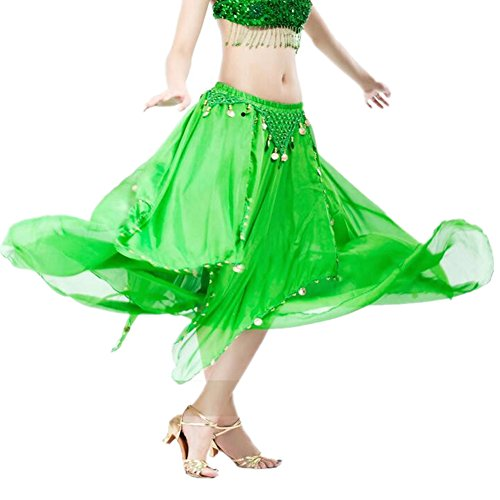 ZYZF Women's Belly Dance Long Sheer Flowy Chiffon Skirt With Coins (Coin Sheer Belly Dance)
