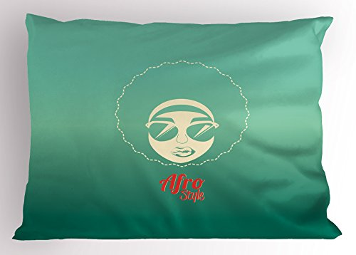 Lunarable Afro Pillow Sham, Woman of Color with Cool Sunglasses Funky Disco Lifestyle Vintage Dance Style, Decorative Standard Queen Size Printed Pillowcase, 30 X 20 inches, Red Sea Green Cream by Lunarable (Image #2)