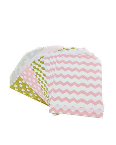 Fyess 100PCS Gold And Pink Candy Treat/Favor Paper Bags, Food Safe Biodegradable Paper Treat Sacks Perfect for Party filled with Small Favors.(Two Color, Two Styles) (Treat Sacks)