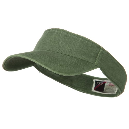 Flex Fit Visor - Washed Pigment Dyed Cotton Twill Flex Sun Visor - Olive Green OSFM