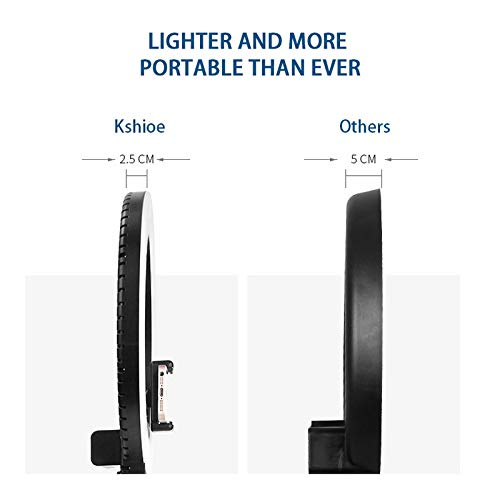 Kshioe Upgraded 12'' Dimmable LED Ring Light, Adjustable 2700-5500K Color Temperature Circle Light with 78 Inch Light Stand & Table Top Stand, Camera Phone Holder, Carring Case for Video Shooting by Kshioe (Image #5)