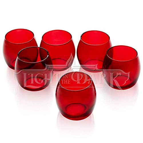 PARNOO Votive Candle Holders Bulk Set of 24 - Glass Votive Tealight Holders - Perfect for Wedding Centerpices, Home Decor (Hurricane Red)